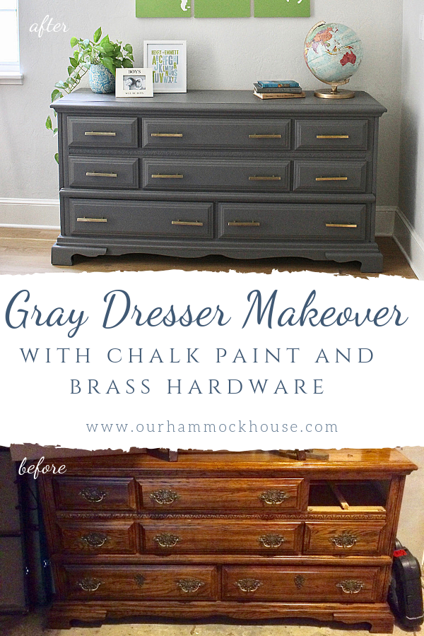 Gray Dresser Makeover Our Hammock House, Grey Chalk Paint Furniture Before And After
