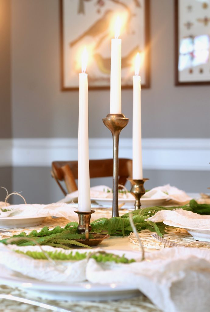 Spring Tablescape With Brass Candlesticks And Ferns Our Hammock House